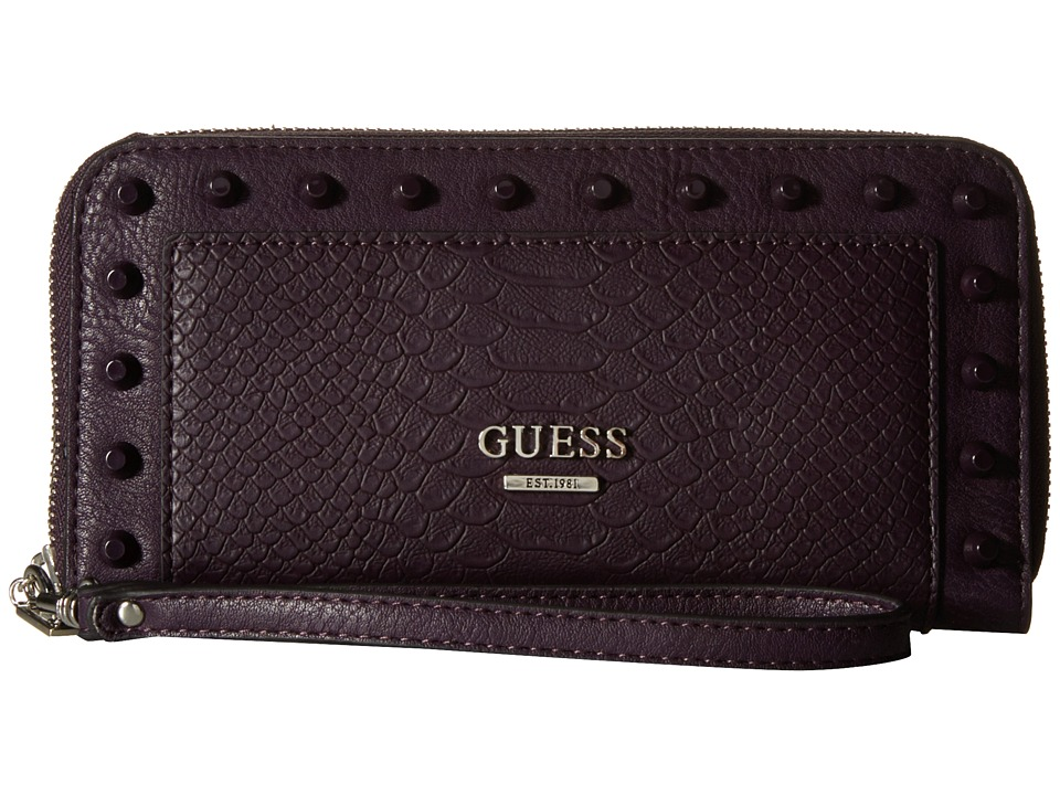 GUESS - Basel SLG Large Zip Around (Aubergine) Clutch Handbags