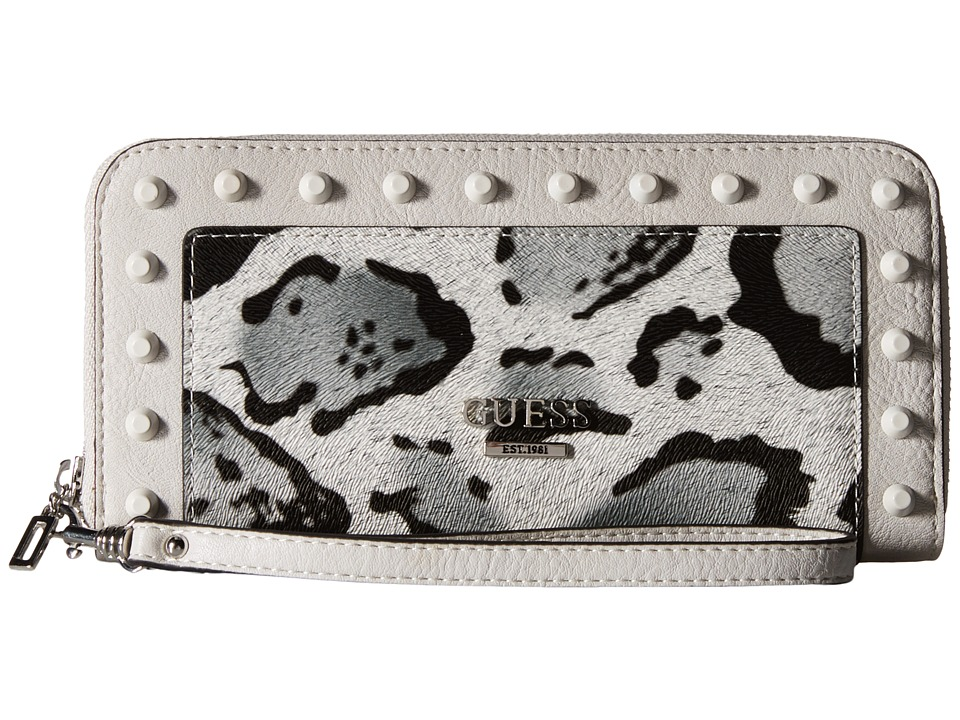 GUESS - Basel SLG Large Zip Around (Snow Leopard) Clutch Handbags