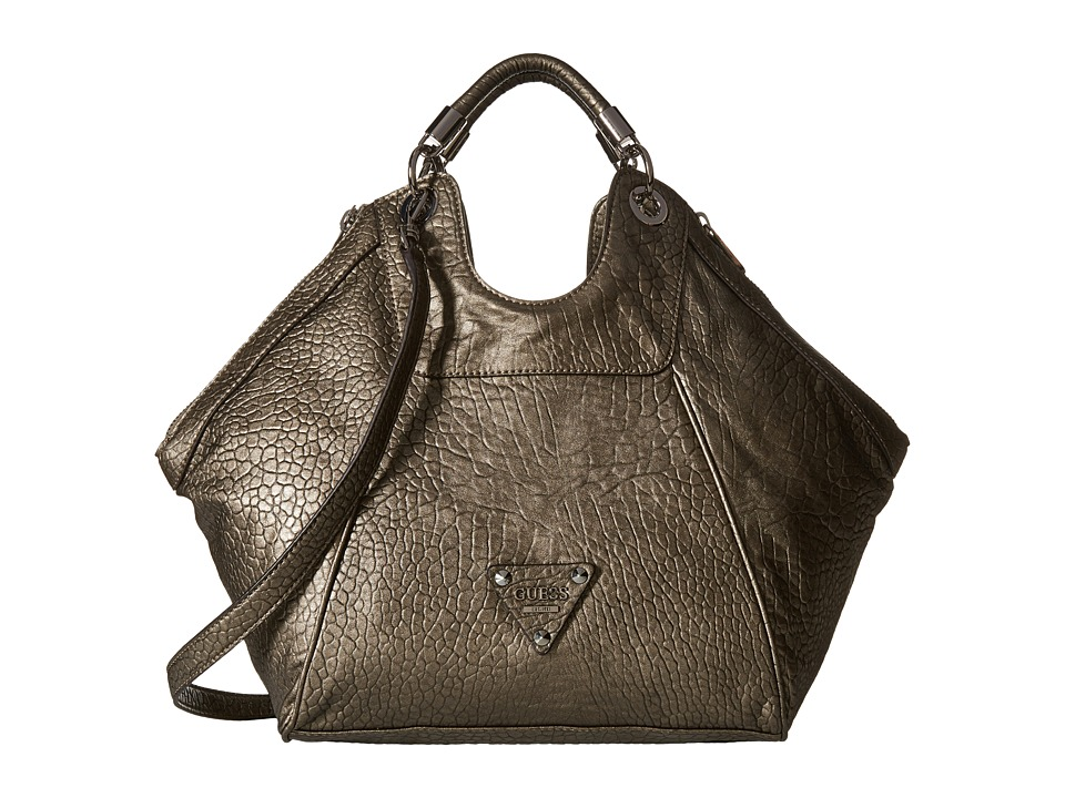 GUESS - Off Beat Large Satchel (Pewter) Satchel Handbags
