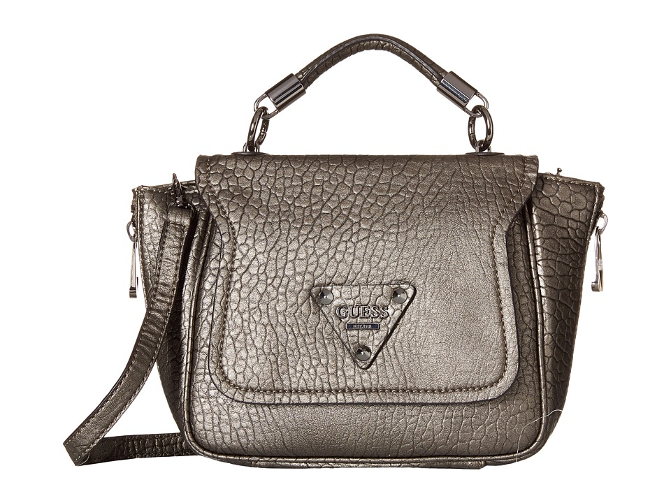 GUESS - Off Beat Crossbody Top-Handle Flap (Pewter) Clutch Handbags