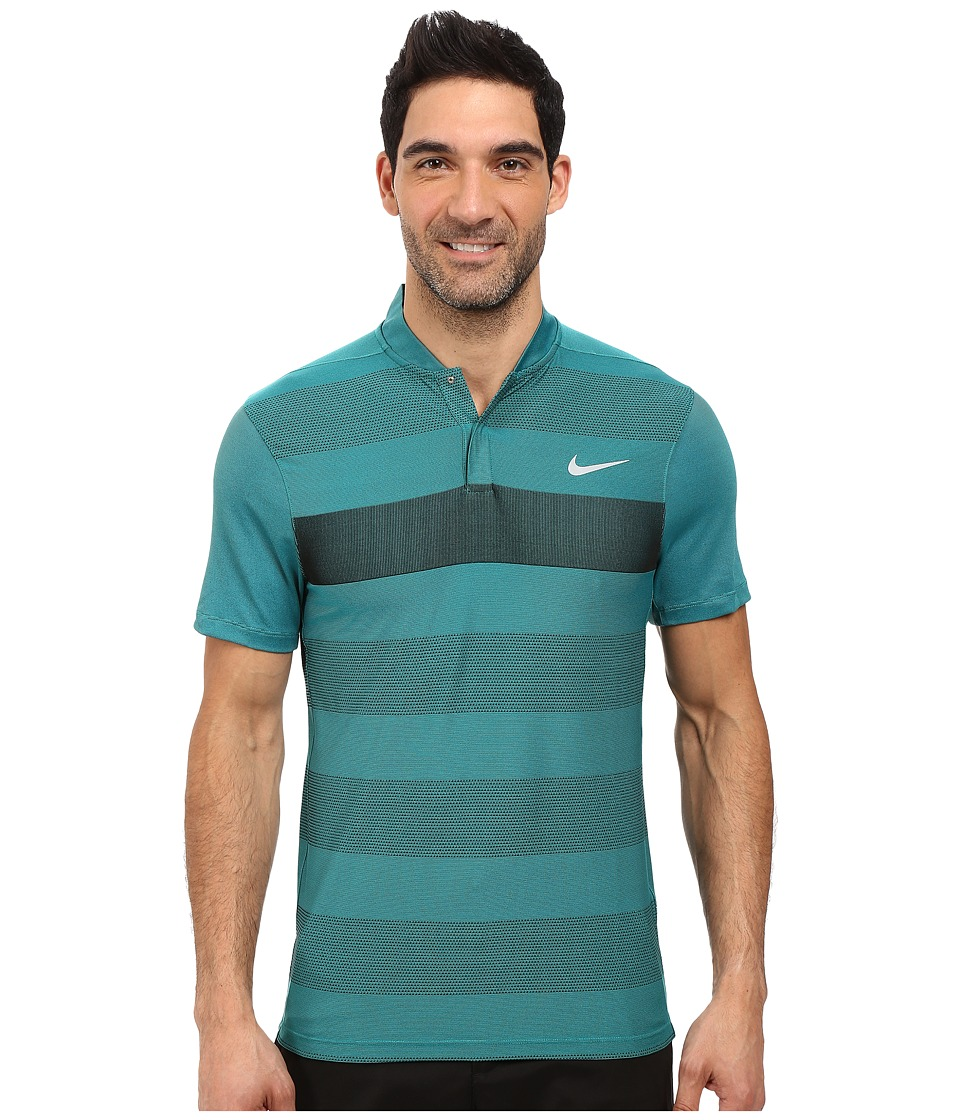 Nike Golf - Momentum Fly Swing Knit Stripe Alpha (Rio Teal/Reflect Black) Men's Short Sleeve Pullover