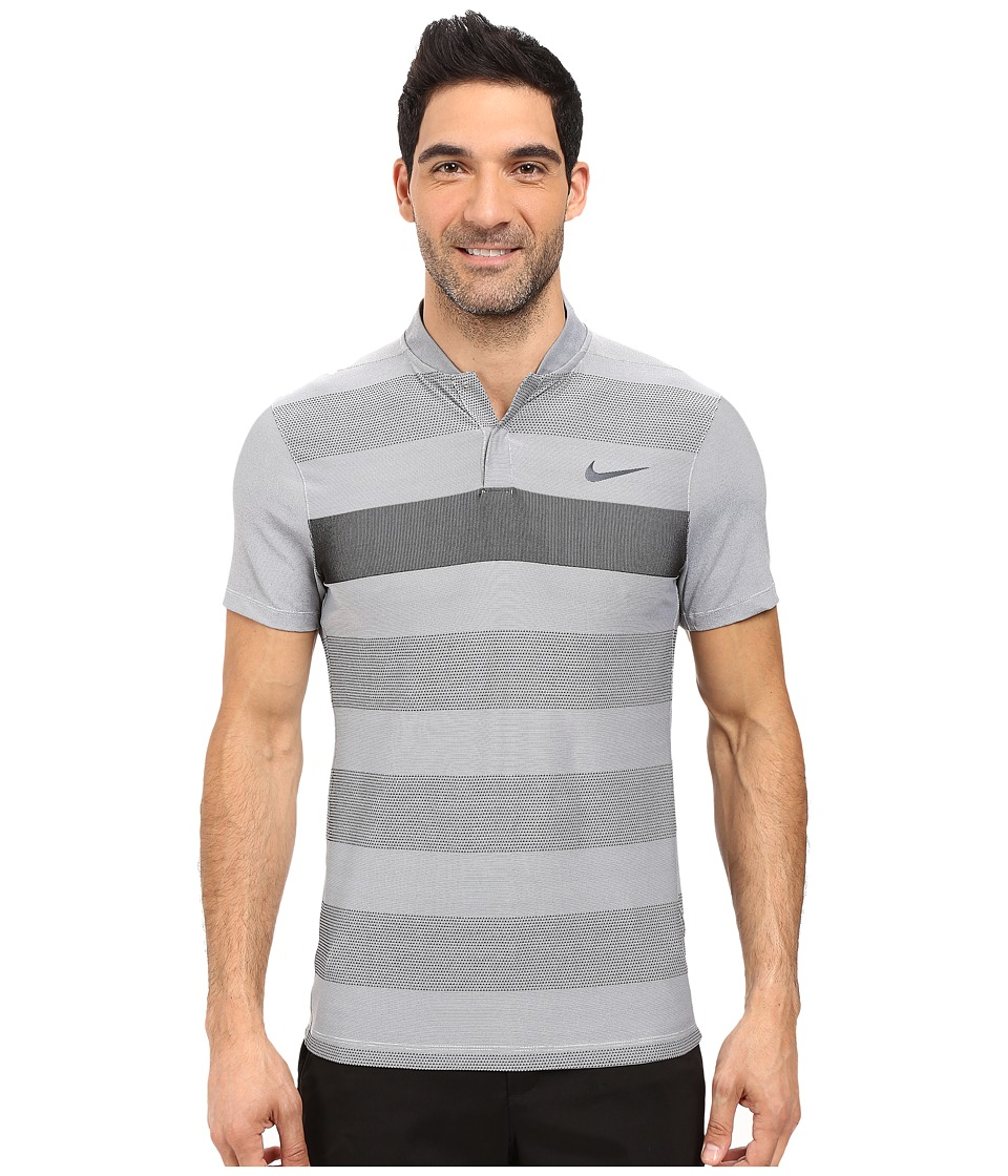 Nike Golf - Momentum Fly Swing Knit Stripe Alpha (Grey) Men's Short Sleeve Pullover