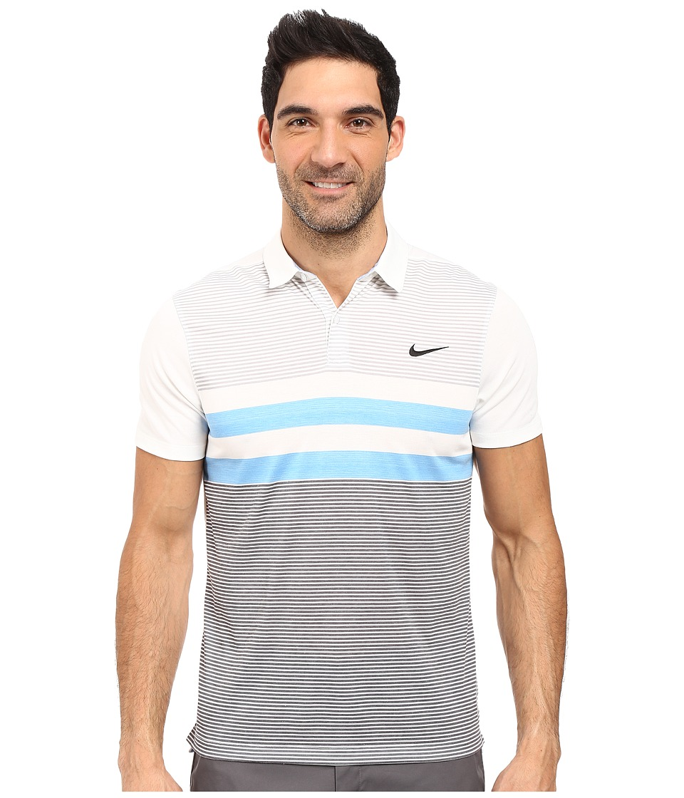 Nike Golf - Modern Fit Transition Dry Stripe (White/Light Photo Blue/Black) Men's Short Sleeve Pullover