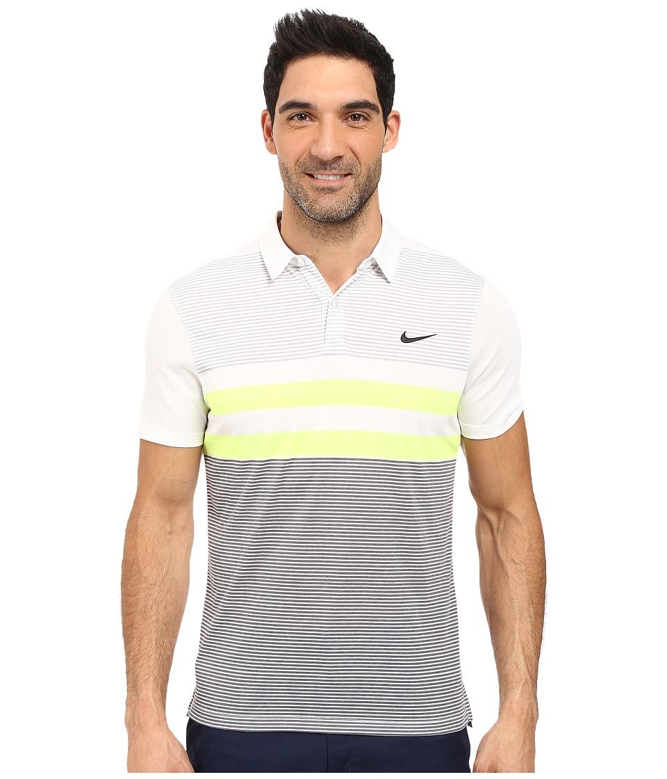 Nike Golf - Modern Fit Transition Dry Stripe (White/Black) Men's Short Sleeve Pullover
