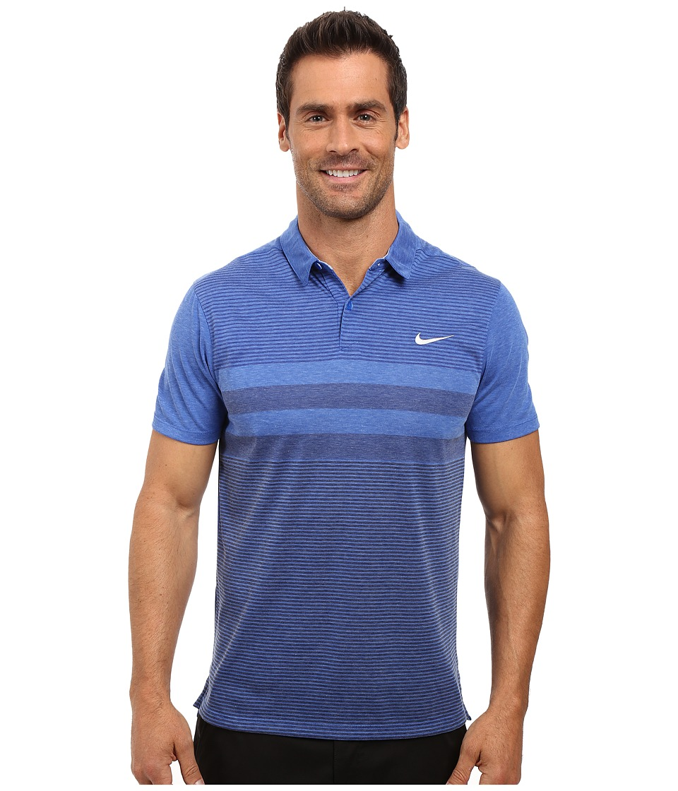 Nike Golf - Modern Fit Transition Dry Stripe (Game Royal/Black) Men's Short Sleeve Pullover