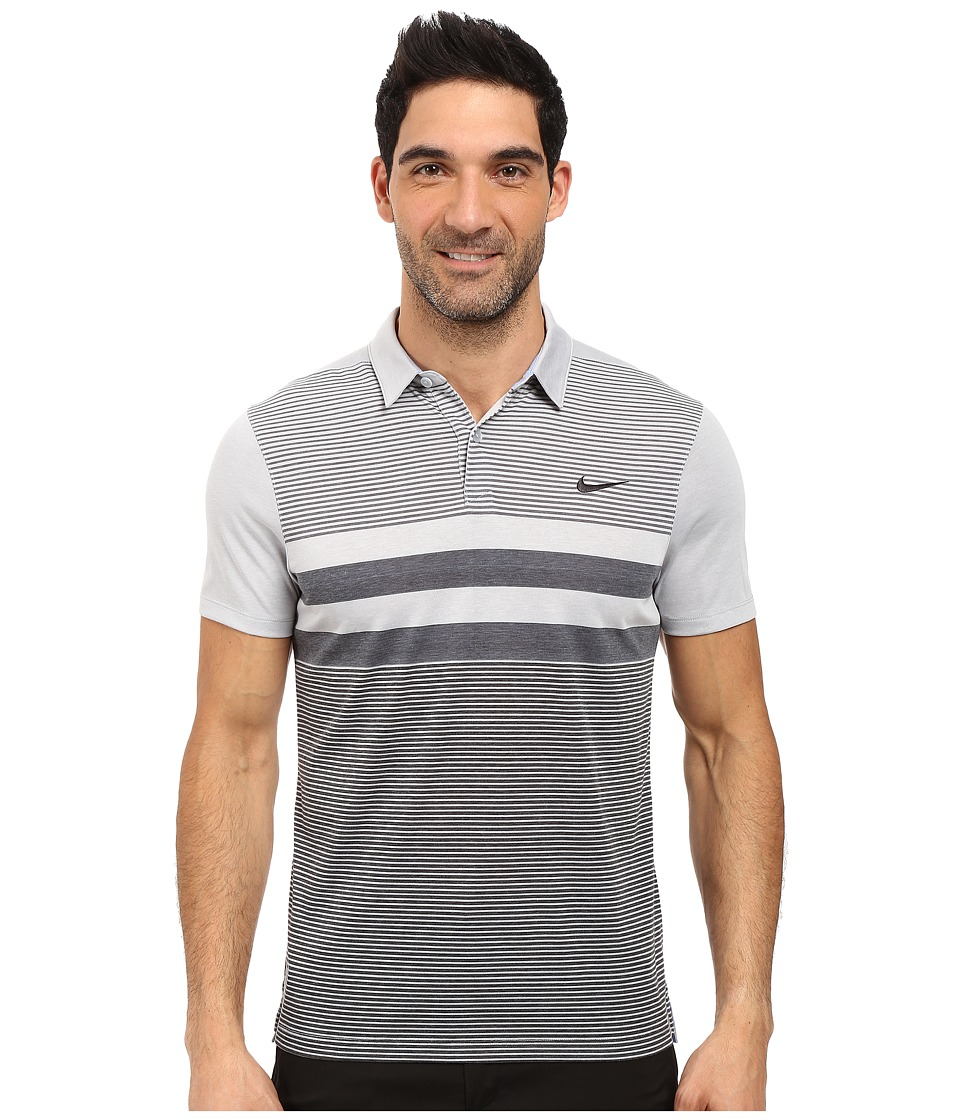 Nike Golf - Modern Fit Transition Dry Stripe (Wolf Grey/Black) Men's Short Sleeve Pullover