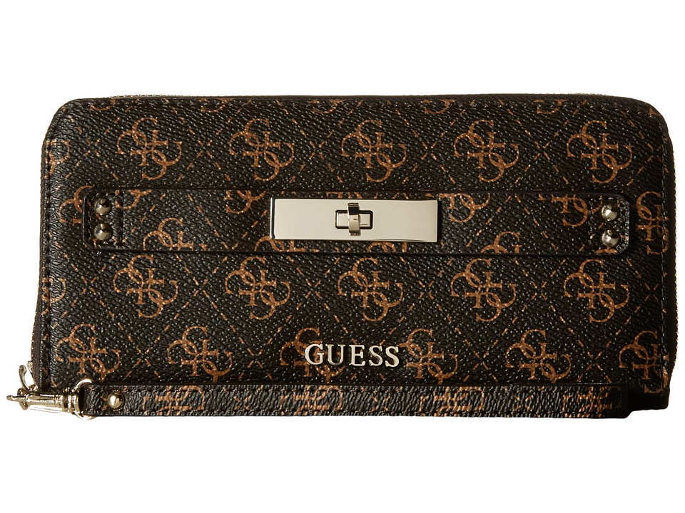 GUESS - Regatta SLG Large Zip Around (Brown) Clutch Handbags