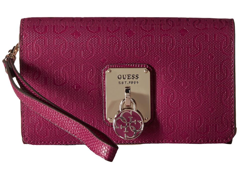 GUESS - Rosalind SLG Phone Organizer (Claret) Clutch Handbags