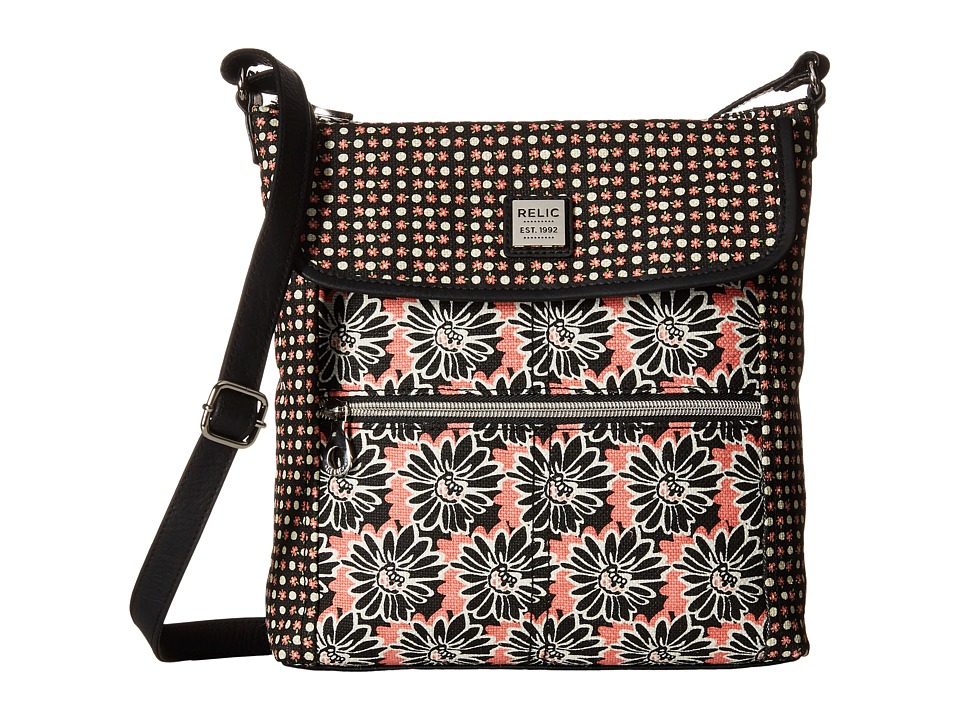 Relic - Erica Flap Crossbody (Black Floral) Cross Body Handbags