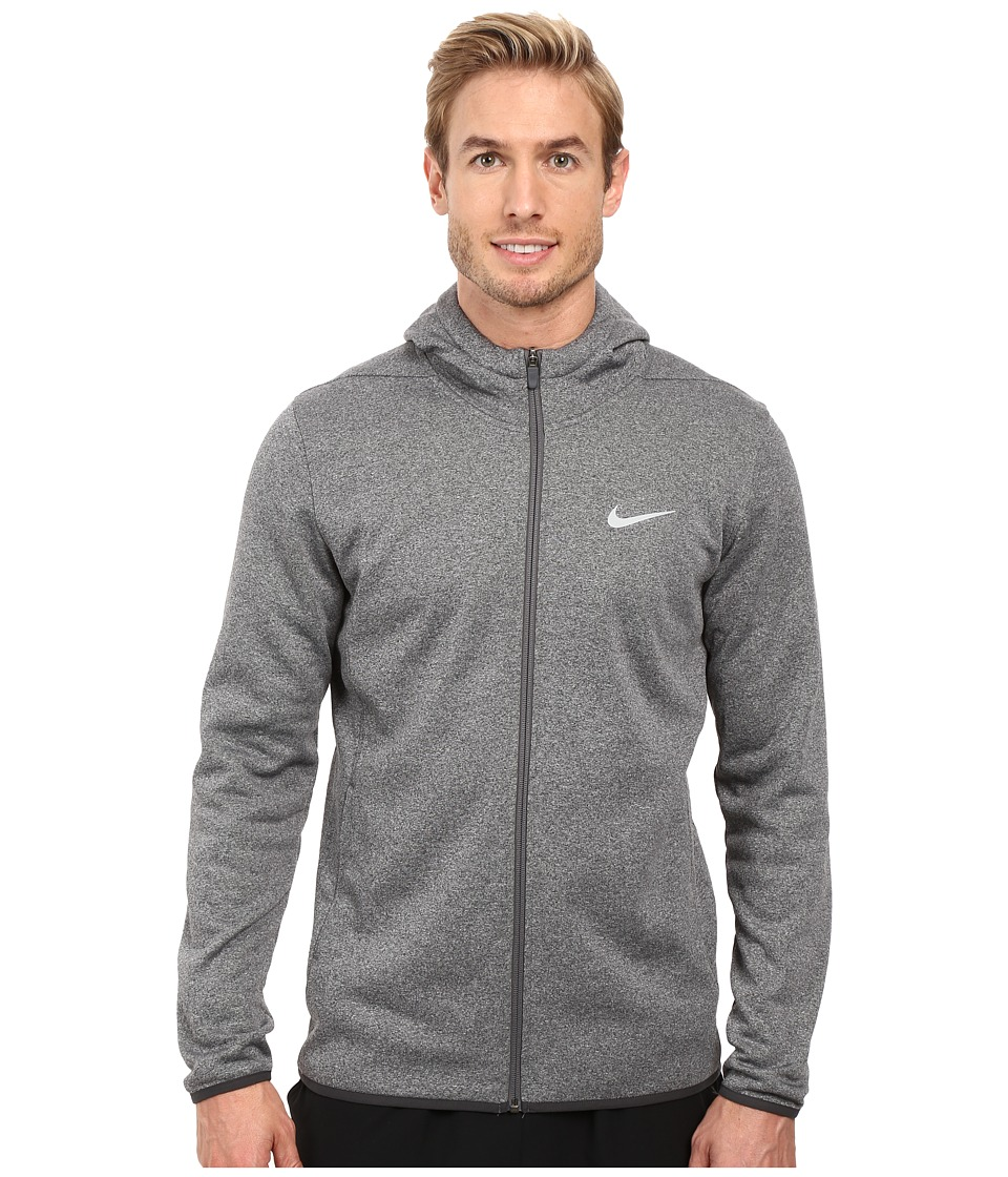 Nike - Tech Sphere Full Zip Hoodie (Carbon Heather/Volt/Flat Silver) Men's Sweatshirt