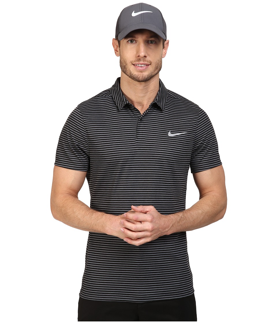 Nike Golf - Momentum Fly Dri Fit Wool Stripe Polo - Light (Black/Reflective Silver) Men's Short Sleeve Pullover