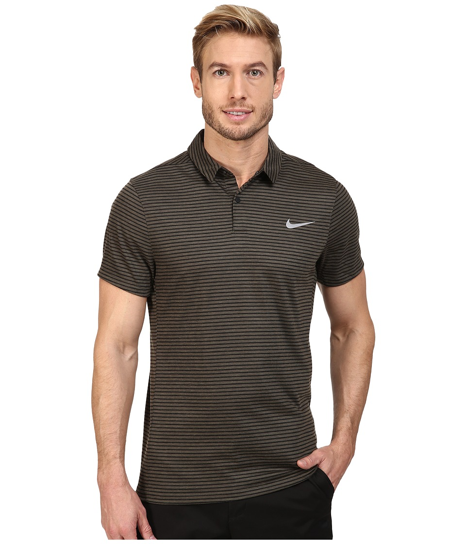 Nike Golf - Momentum Fly Dri Fit Wool Stripe Polo - Light (Cargo Khaki/Reflective Silver) Men's Short Sleeve Pullover