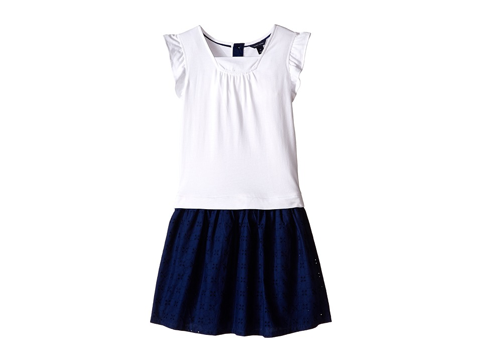 Tommy Hilfiger Kids - Knit Woven Flutter Dress (Little Kids/Big Kids) (Flag Blue) Girl's Dress