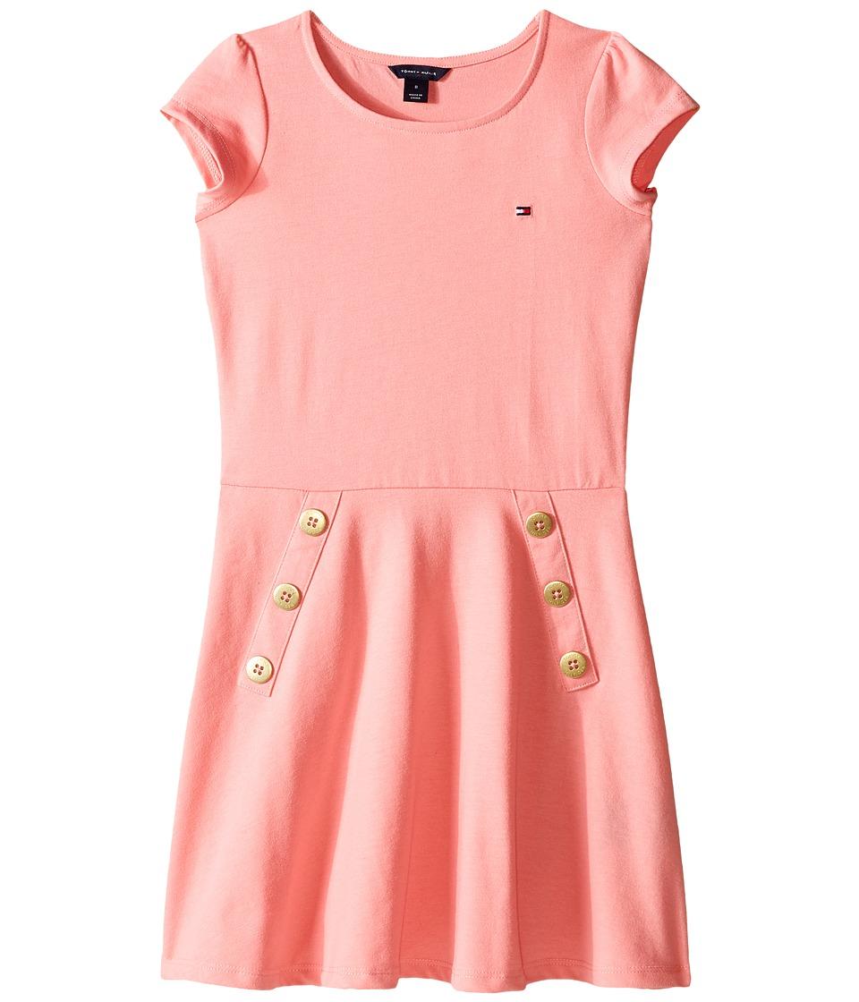 Tommy Hilfiger Kids - Solid Button Jersey Dress (Little Kids/Big Kids) (Geranium Pink) Girl's Dress