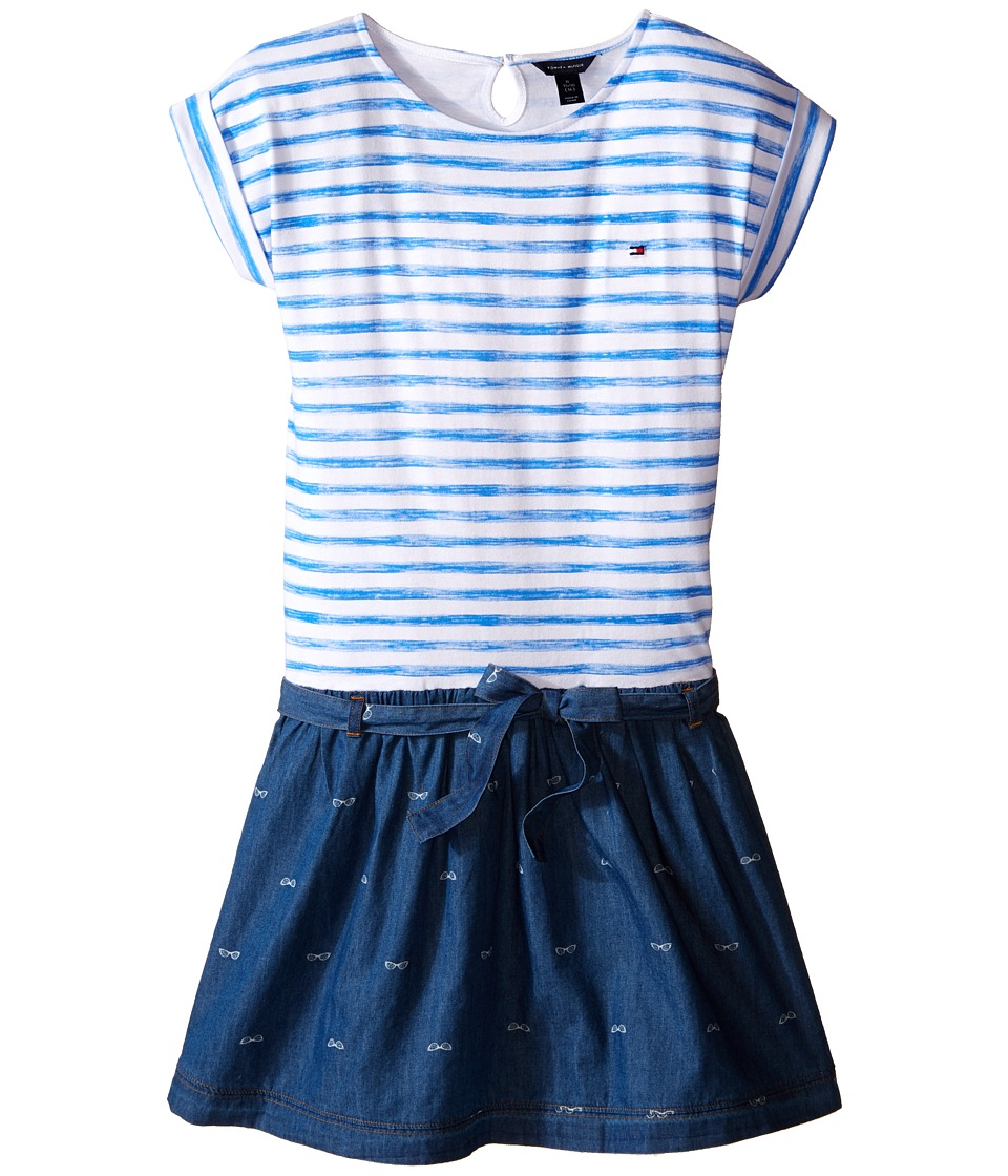 Tommy Hilfiger Kids - Printed Jersey Denim Dress (Big Kids) (Blue) Girl's Dress