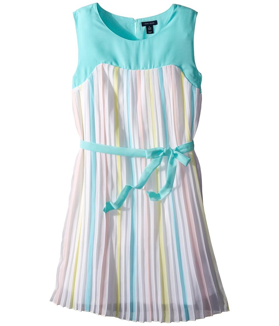 Tommy Hilfiger Kids - Pleated Chiffon Dress (Big Kids) (White) Girl's Dress