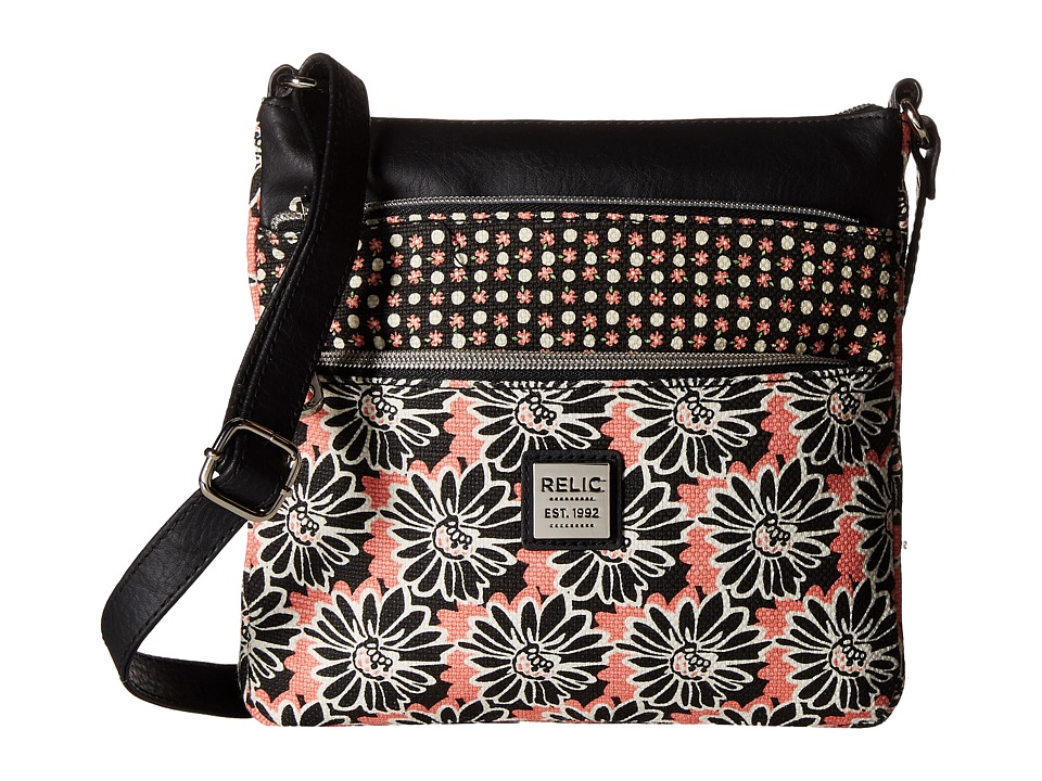 Relic - Erica NS Top Zip (Black Floral) Cross Body Handbags