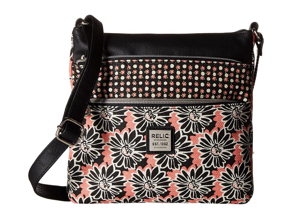 Relic - Erica NS Top Zip (Black Floral) Cross Body Handbags