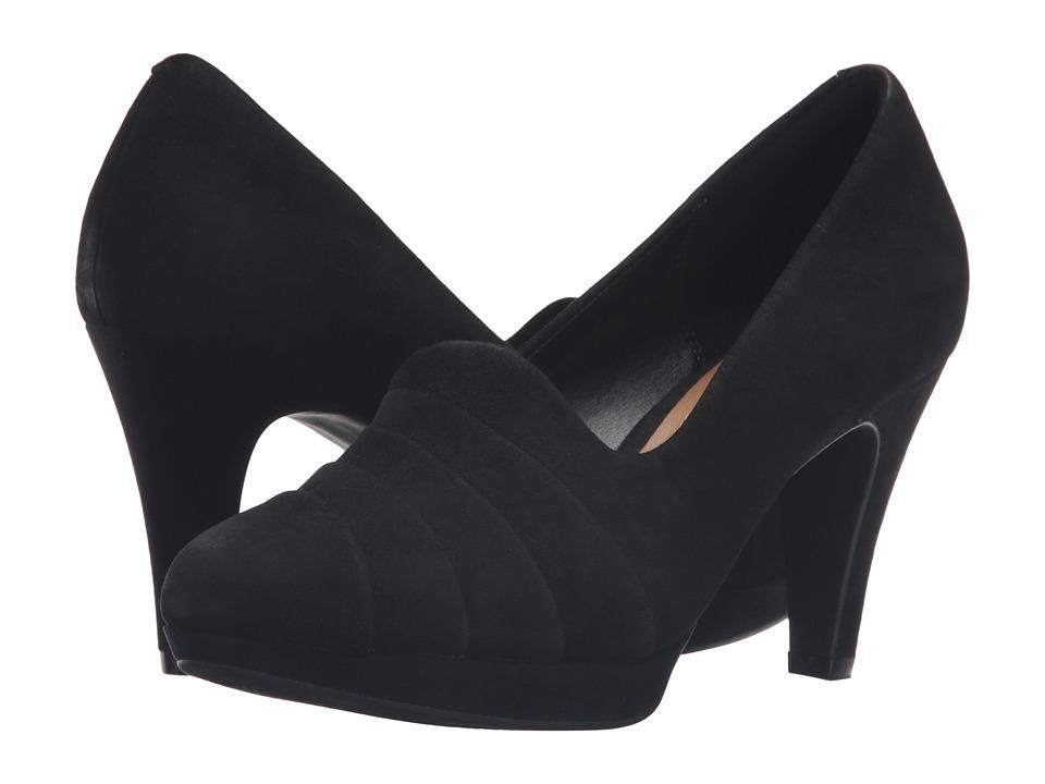 Clarks - Narine Flora (Black Suede) Women's Shoes