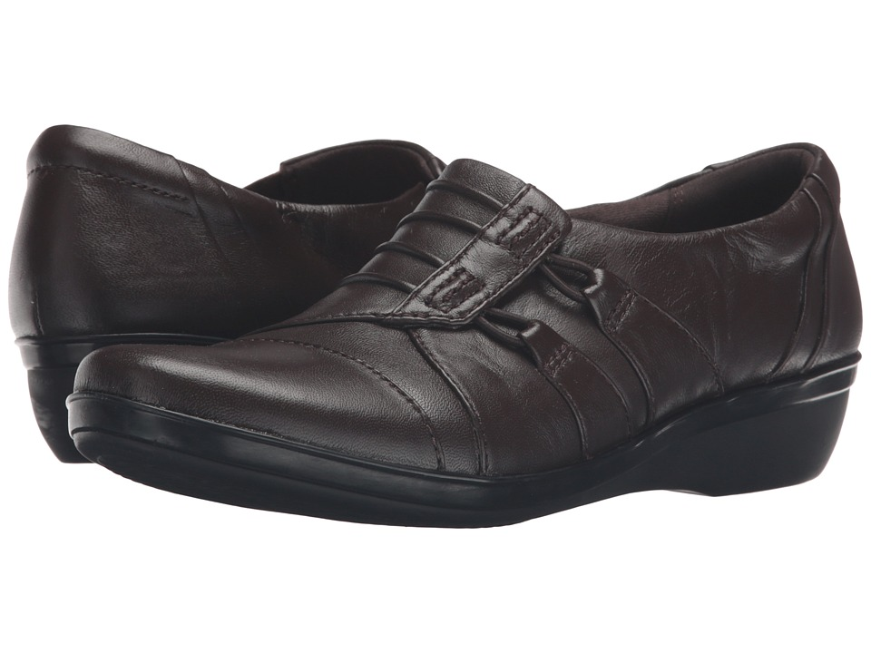 Clarks - Everlay Easley (Dark Brown Leather) Women's Shoes