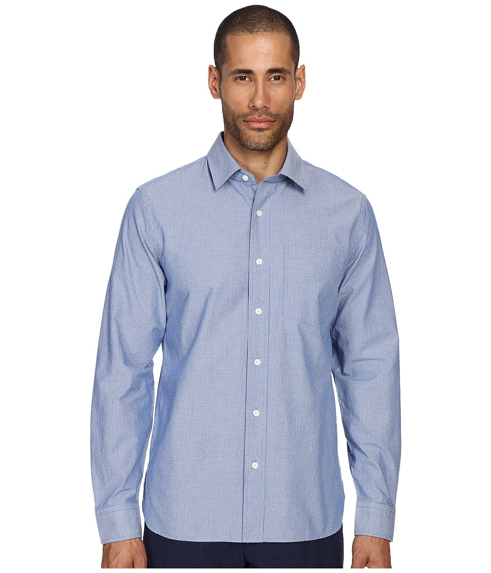 Jack Spade - Grant Stripe Dobby Point Collar Shirt (Blue) Men's Clothing