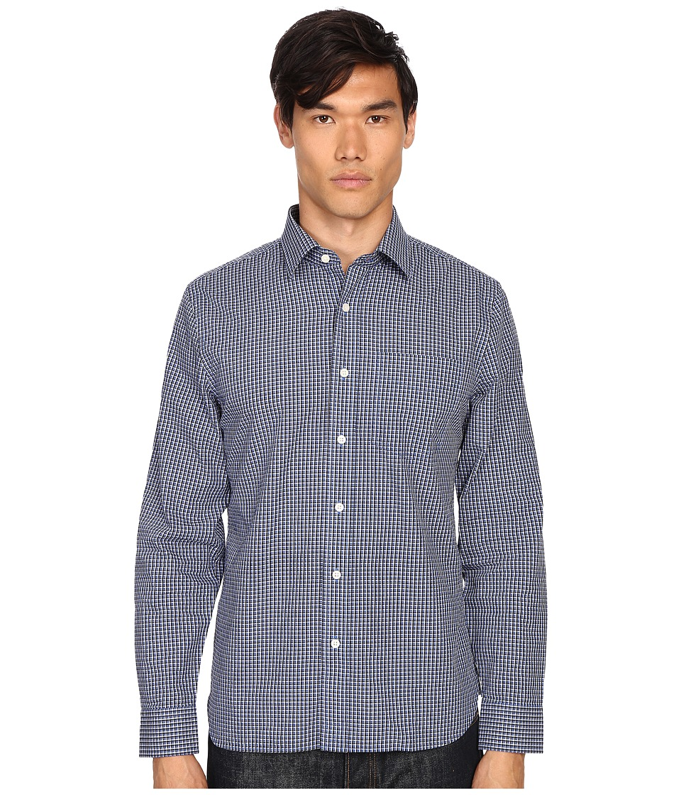 Jack Spade - Grant Mini Check Point Collar Shirt (Blue) Men's Clothing