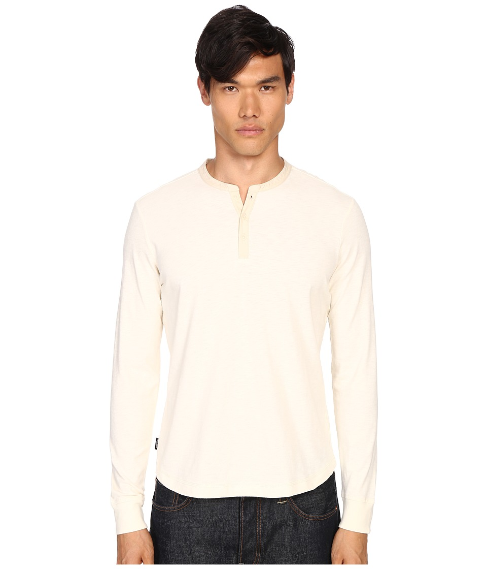 Jack Spade - Woven Placket Henley (Natural) Men's Clothing