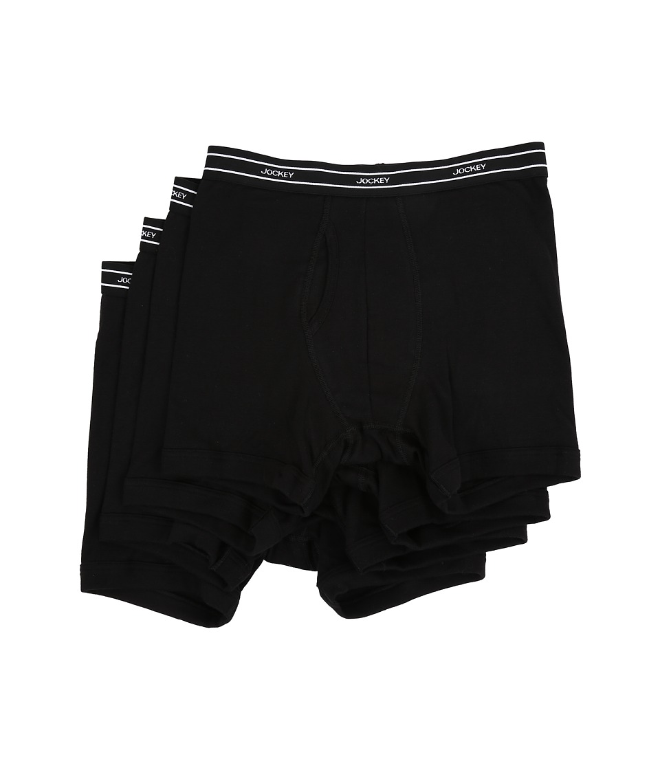 Jockey - Low-Rise Boxer Brief 4-Pack (Black) Men's Underwear