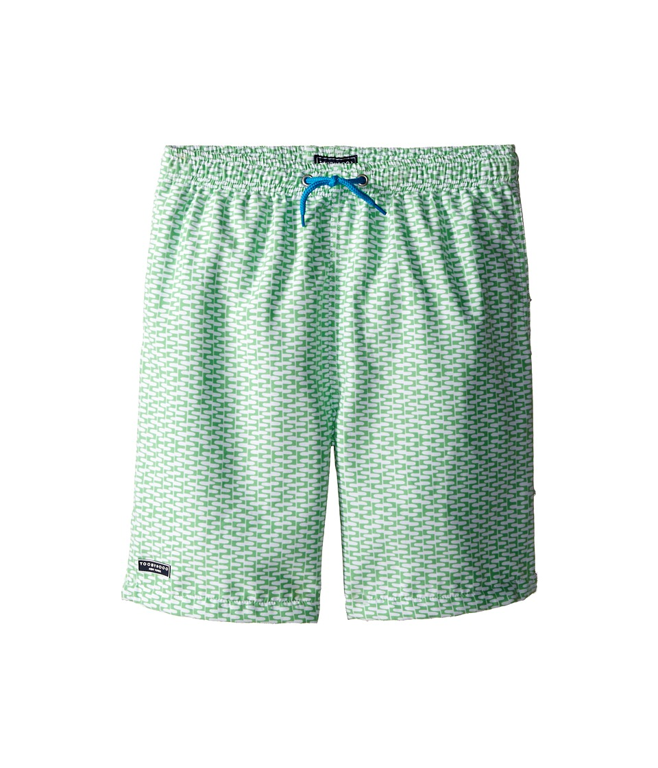Toobydoo - Green/White Print w/ White Lace Drawstring Swim Shorts (Infant/Toddler/Little Kids/Big Kids) (Green/White/Blue Tie) Boy's Swimwear