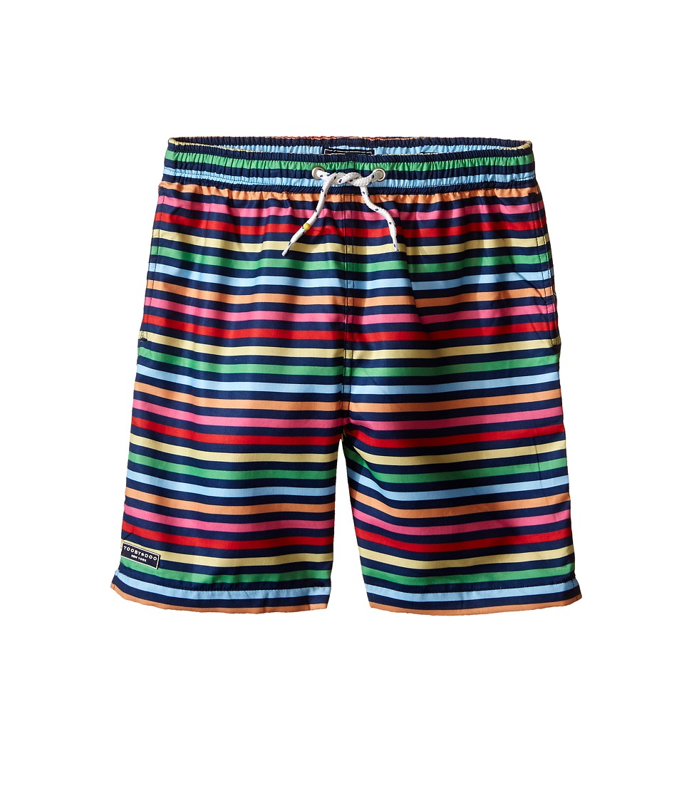 Toobydoo - Rainbow Multi Stripe w/ White Lace Drawstring Swim Shorts (Infant/Toddler/Little Kids/Big Kids) (Purple/Navy/Green/Blue/Yellow/Red) Boy's Swimwear