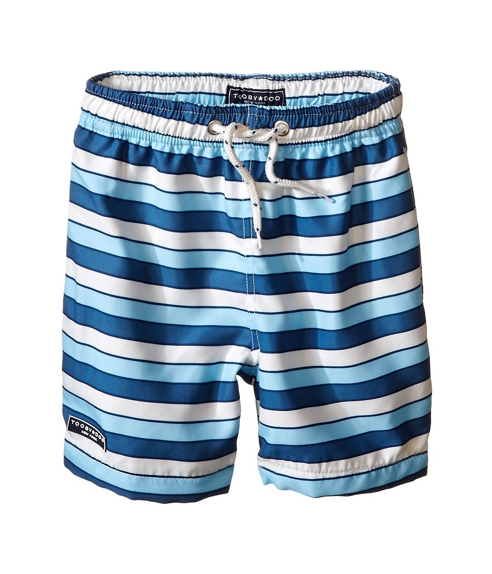 Toobydoo - Multi Stripe Blue/White Lace Drawstring Swim Shorts (Infant/Toddler/Little Kids/Big Kids) (Blue/Navy/White) Boy