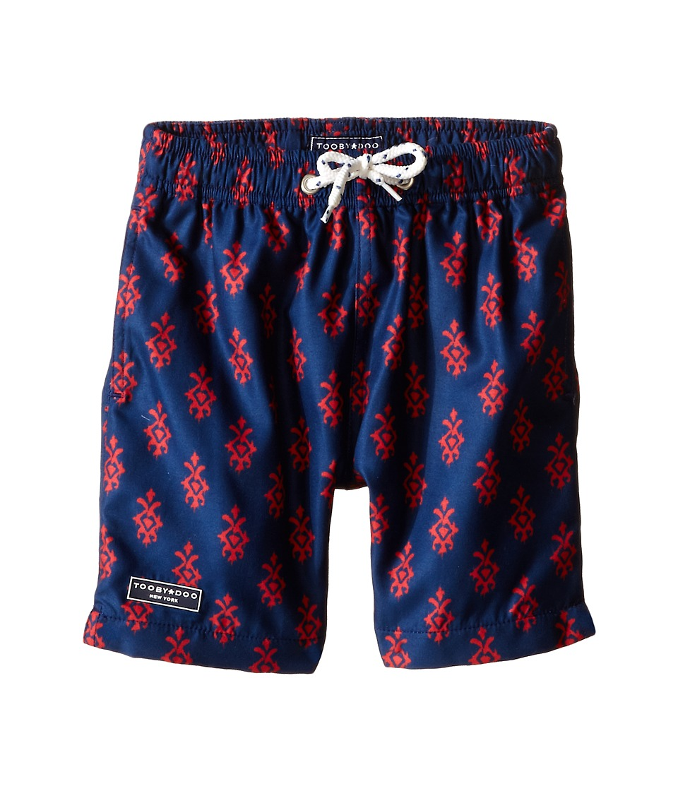 Toobydoo - Red/Navy Printed Swim Shorts/White Lace Drawstring (Infant/Toddler/Little Kids/Big Kids) (Navy/Red) Boy's Swimwear