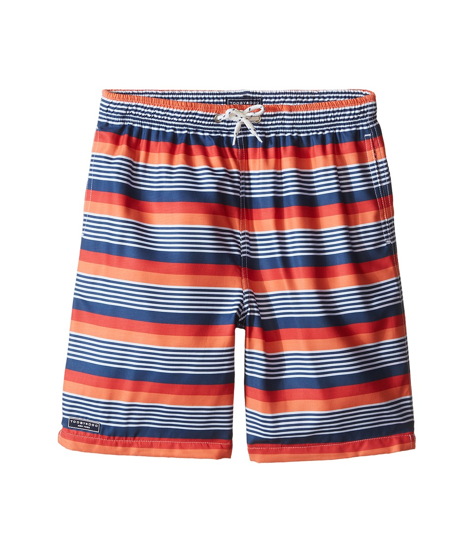 Toobydoo - Multi Stripe Orange/Red/Navy/White Stripe Swim Shorts (Infant/Toddler/Little Kids/Big Kids) (Navy/Orange/White/Red) Boy's Swimwear