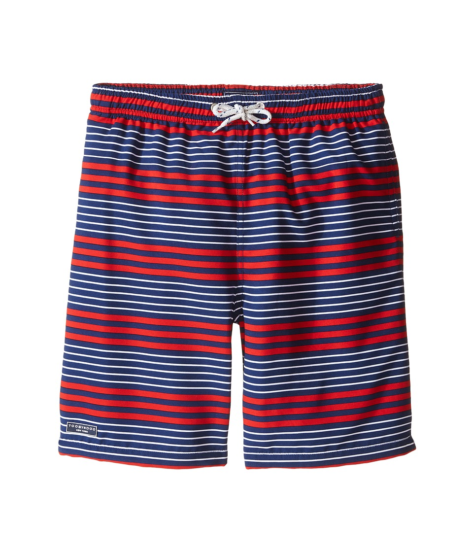 Toobydoo - Multi Stripe White Lace Draw String Swim Shorts (Infant/Toddler/Little Kids/Big Kids) (Red/Navy/White) Boy's Swimwear