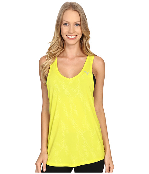 PUMA - WT Mesh It Up Layer Tank Top (Sulphur Spring) Women's Workout