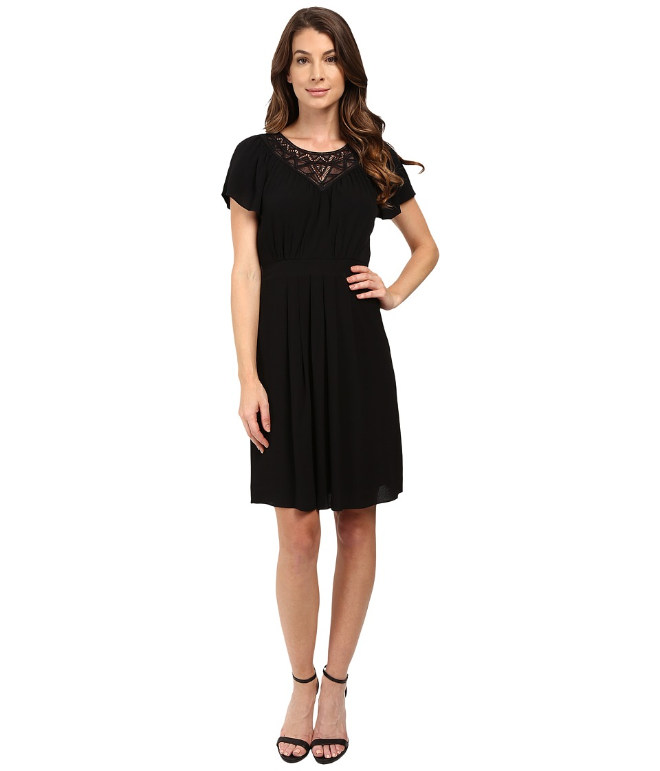 Rebecca Taylor - Stained Glass Lace Short Sleeve Dress (Black) Women's Dress