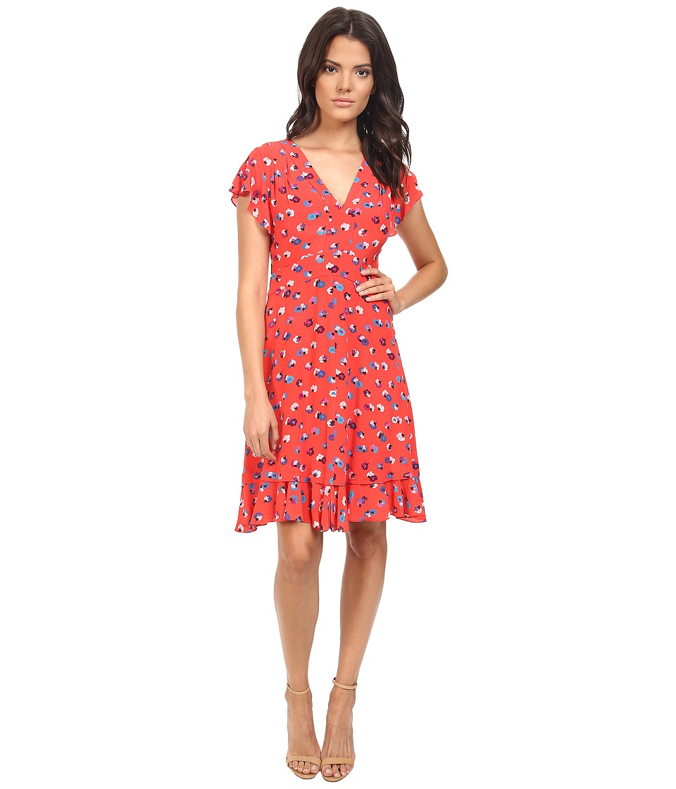 Rebecca Taylor - Sakura Floral Sleeveless V-Neck Dress (Poppy) Women's Dress