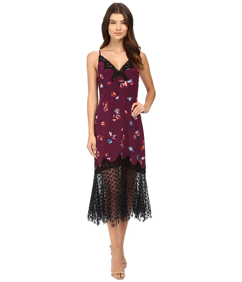 Rebecca Taylor - Bellflower Print Slip Dress (Plum Combo) Women's Dress