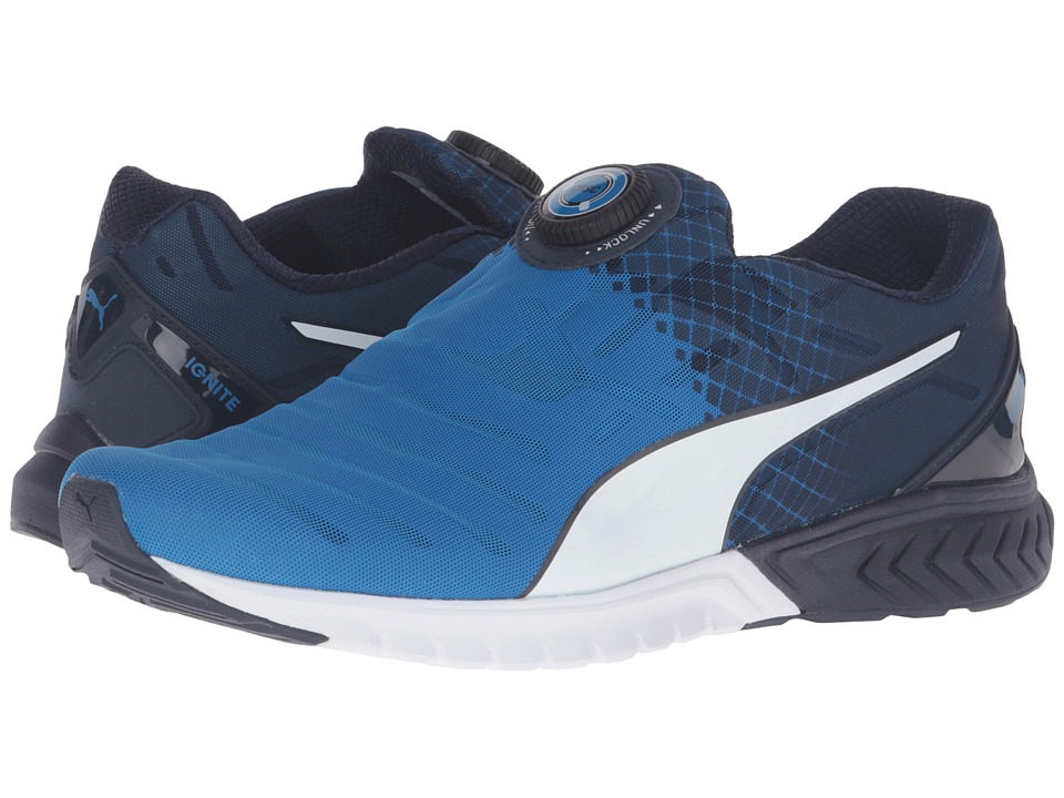 PUMA - Ignite Dual Disc (Electric Blue Lemonade/Peacoat/Puma White) Men's Running Shoes