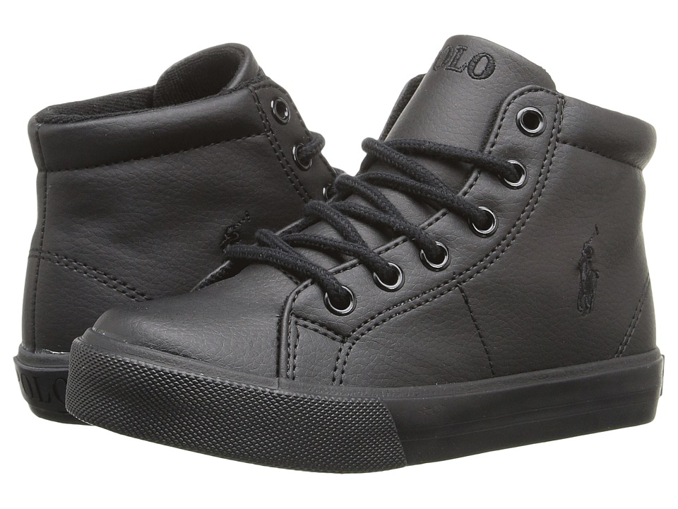 Polo Ralph Lauren Kids - Scholar Mid (Little Kid) (Triple Black Tumbled/Black Pony Player) Boy's Shoes