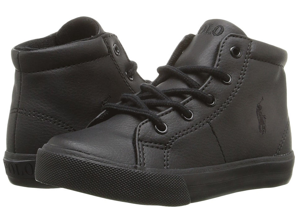 Polo Ralph Lauren Kids - Scholar Mid (Toddler) (Triple Black Tumbled/Black Pony Player) Boy's Shoes