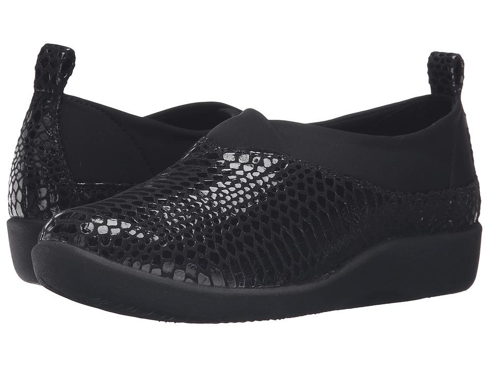 Clarks - Sillian Greer (Black Snake) Women's Shoes