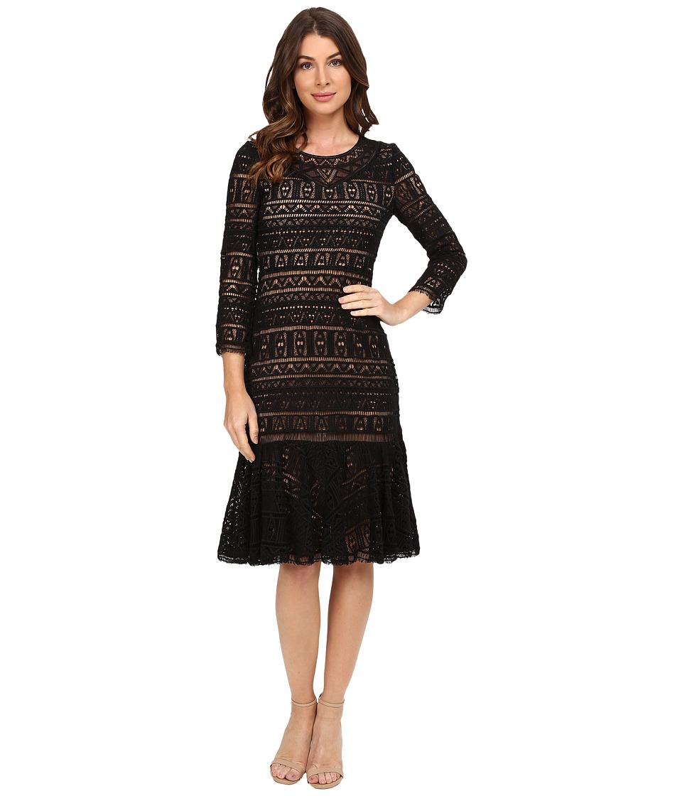 Rebecca Taylor Stained Glass Lace Long Sleeve Dress (Black) Women