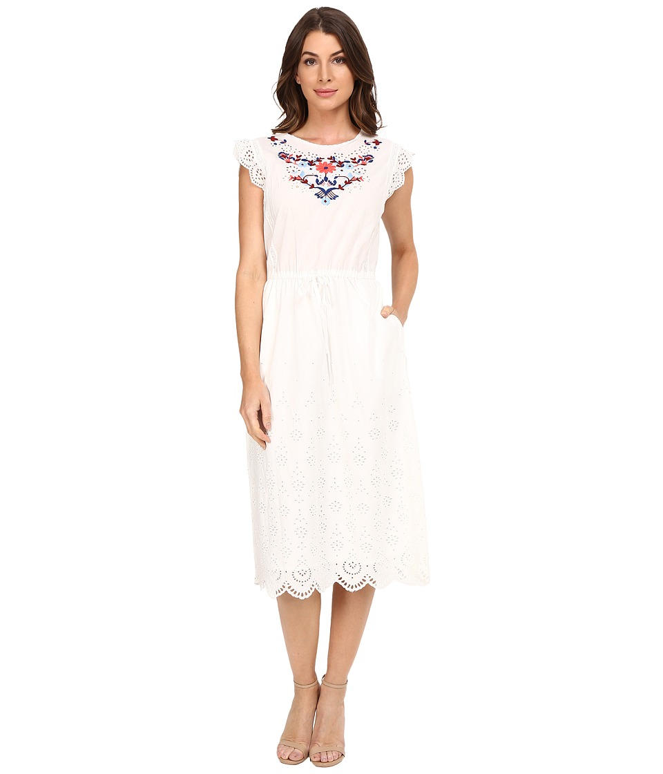 Rebecca Taylor - Folk Garden Embroidery Sleeveless Dress (Snow) Women's Dress