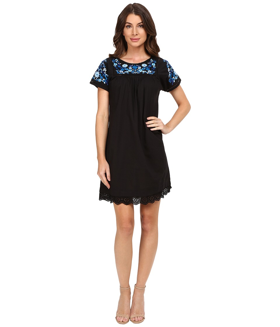 Rebecca Taylor - Folk Garden Embroidery Short Sleeve Dress (Black) Women's Dress