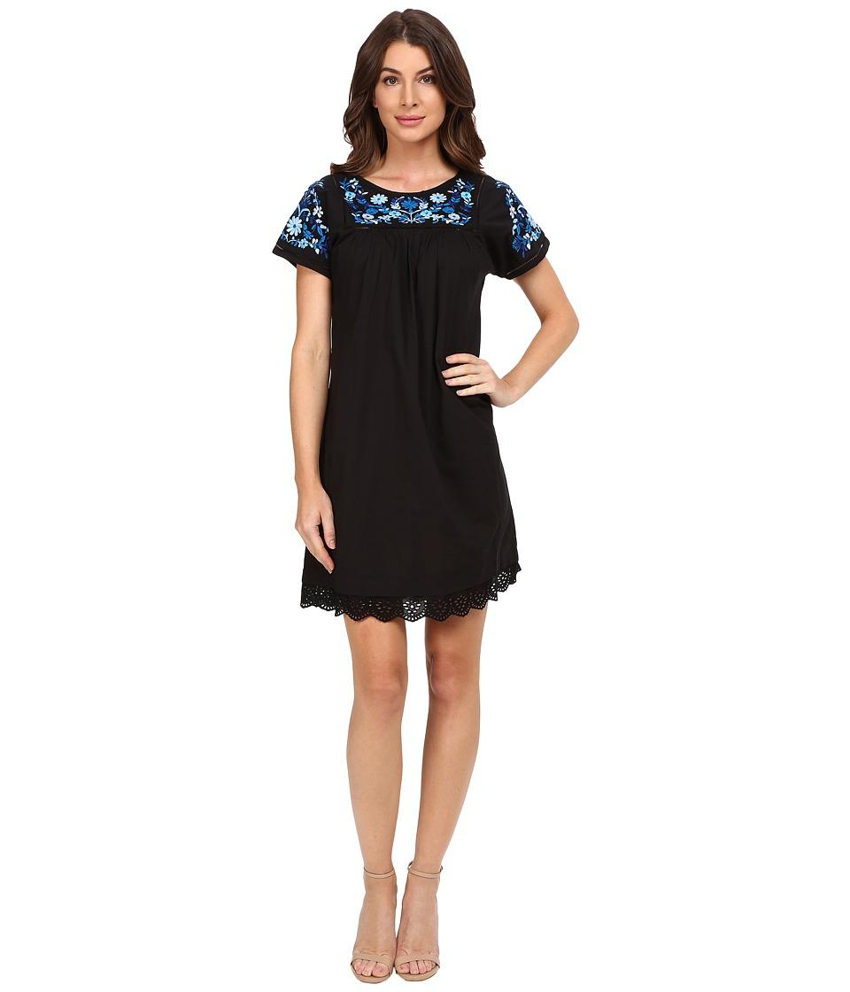 Rebecca Taylor Folk Garden Embroidery Short Sleeve Dress (Black) Women