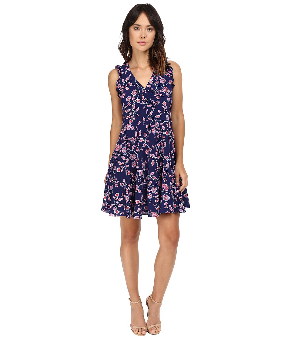 Rebecca Taylor - Kyoto Floral Print Sleeveless Dress (Ink Blue) Women's Dress