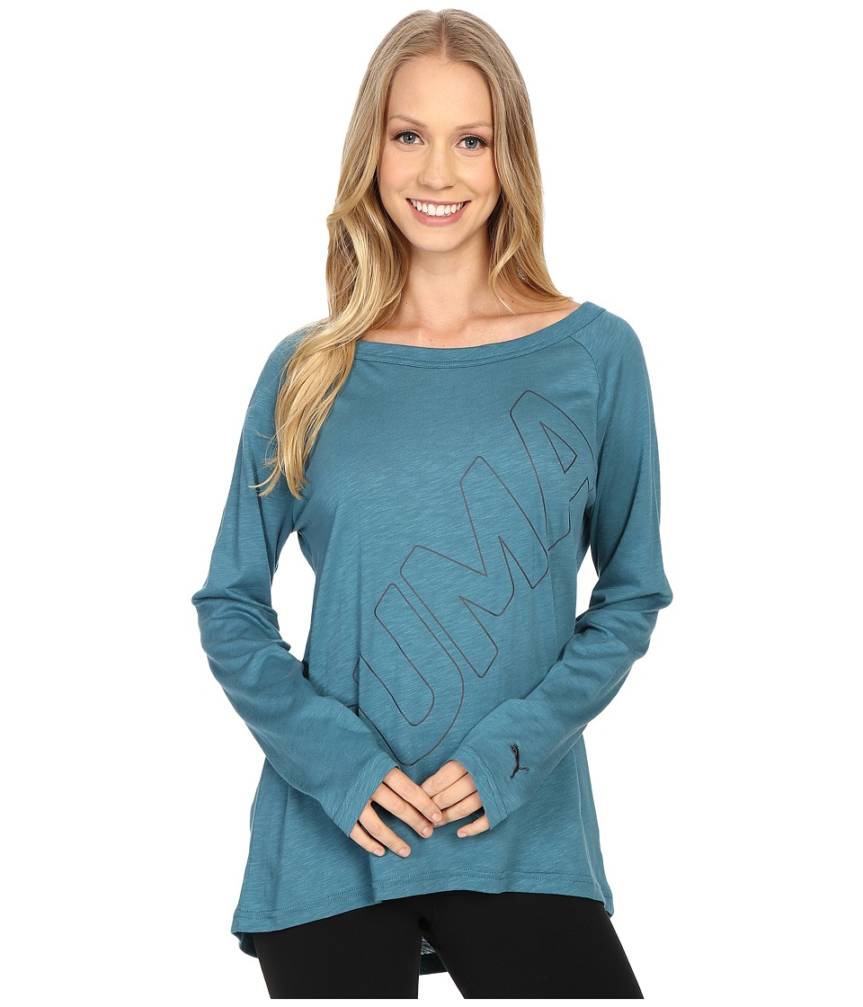 PUMA - Transitional Top (Colonial Blue) Women's Long Sleeve Pullover