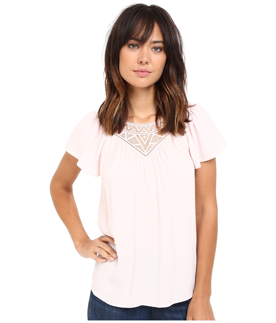 Rebecca Taylor - Stained Glass Lace Short Sleeve Top (Pale Blush) Women's Short Sleeve Pullover