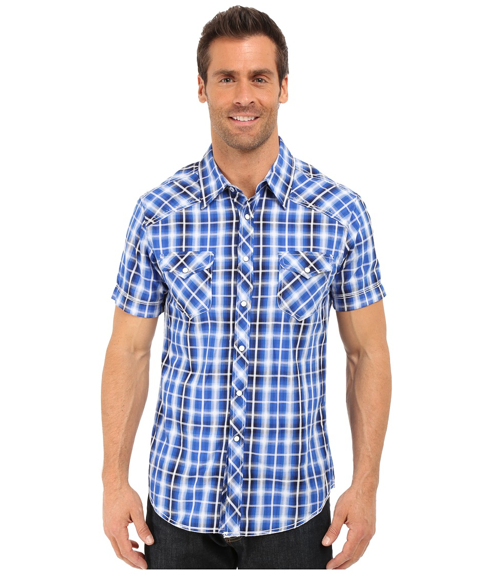 Rock and Roll Cowboy - Short Sleeve Snap B1S6269 (Blue) Men's Clothing